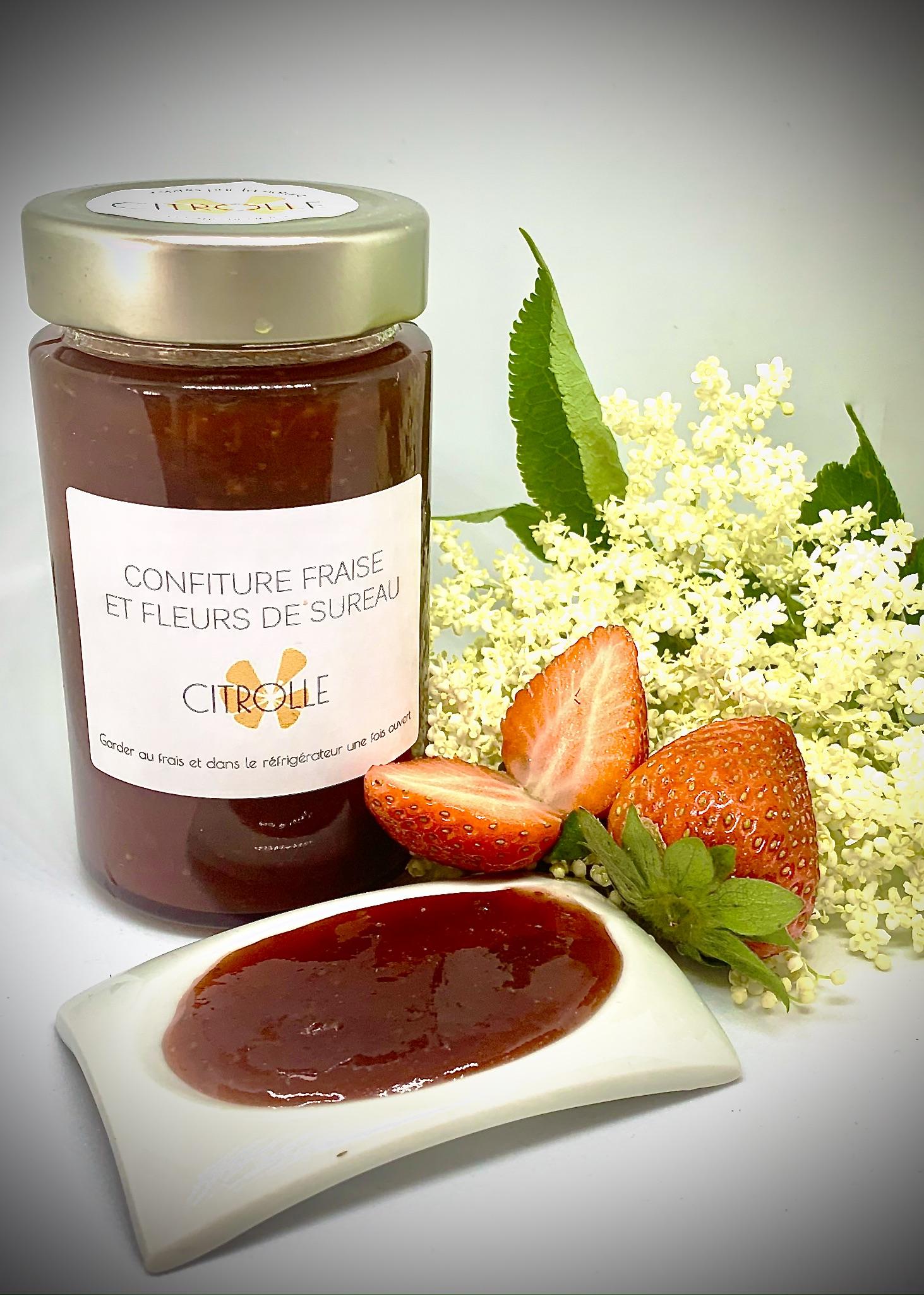 Confiture fraise er fleurs de sureau